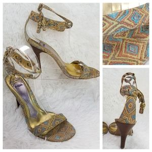 Hale Bob 7M Gold Turquoise Ankle Tied High Heels